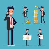 Geschäftsmann Set Zeichentrickfilm-Figur in einem Anzug Lizenzfreies Stockfoto