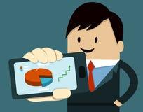 Geschäftsmann-Show-intelligentes Telefon, Diagramm, Pfeil Stockfotos