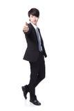 Geschäftsmann-Showdaumen oben in in voller Länge Stockfotos