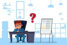 Geschäftsmann Sit At Office Desk Pondering und Denken Stockbild