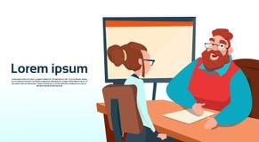 Geschäftsmann-Sitting Office Desk-Geschäftsfrau Apply Job Interview Business People Candidate Stock Abbildung