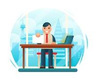 Geschäftsmann Sitting Table mit Papiervertrags-Kormus-Zeichen-Fenster-Stadt-Hintergrund-flachem Konzept- des Entwurfesschablonen- Lizenzfreies Stockfoto