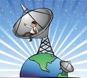 Geschäftsmann sitzen auf den Satellitenschüsseln stockfotos