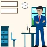 Geschäftsmann-sitzende Schreibtisch-Büro-Arbeitsplatz-Laptop-Rückseiten-hintere Ansicht-flache Vektor-Illustration lizenzfreie abbildung