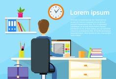 Geschäftsmann-sitzender Schreibtisch-Büro-Arbeitsplatz