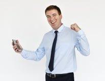 Geschäftsmann-Smiling Happiness Calculator-Erfolgs-Porträt Concep lizenzfreie stockfotografie