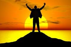 Geschäftsmann am Sonnenuntergang Stockbilder