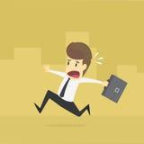 Geschäftsmann spät für Arbeit Mann-Eile zu arbeiten Stockbilder