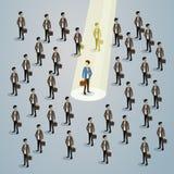 Geschäftsmann-Spotlight Human Resource-Einstellungs-Kandidat, Geschäftsleute stellen das isometrische Konzept 3d an Lizenzfreies Stockfoto