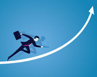 Geschäftsmann Sprint auf Erfolgs-Pfeil Lizenzfreies Stockbild