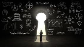 Geschäftsmann Standing vor Schlüsselloch-, Unternehmensplan und verschiedenem Diagramm in der schwarzen Wand vektor abbildung