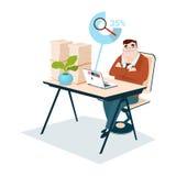 Geschäftsmann stapelte Papierdokumenten-Schreibarbeits-Lupen-Daten-Suche stock abbildung
