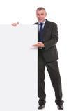 Geschäftsmann stellt ein leeres Brett dar Lizenzfreies Stockbild