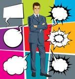 Geschäftsmann-In Suit With-Blasen-Rede Stockfotos
