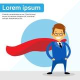 Geschäftsmann-Super Hero Chartoon-Abnutzungs-Anzugs-Rot-Kap lizenzfreie abbildung