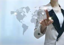 Geschäftsmann-Touch Screen Stockfotografie