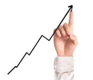 Geschäftsmann Touching ein Diagramm Stockfotografie