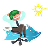 Geschäftsmann träumt, wie bald möglich, im Urlaub zu gehen das Meer Lizenzfreie Stockfotografie