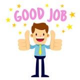 Geschäftsmann With Two Thumbs herauf das Sagen des guten Jobs Stockfoto