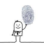Geschäftsmann u. Fingerabdruck lizenzfreie abbildung