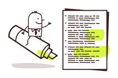 Geschäftsmann u. grüne Markierung lizenzfreie abbildung