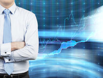 Geschäftsmann und Aktienkurve Stockfotos