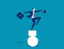 Geschäftsmann und aus dem Gleichgewicht gebracht Konzeptgeschäftsillustration Lizenzfreies Stockbild