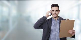Geschäftsmann und Büros stockbild
