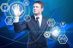 Geschäftsmann- und Cyberschirmikonen lizenzfreies stockfoto