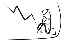Geschäftsmann und fallende Börse Lizenzfreie Stockfotografie