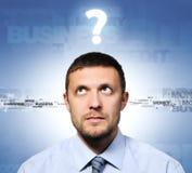 Geschäftsmann und Frage, Konzept Stockfotografie