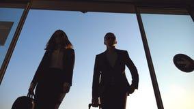 Geschäftsmann und Frau, die zum Flughafen mit ihrem Gepäck gehen Tragender Koffer des jungen Geschäftsmannes auf Rädern und stock video