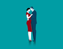 Geschäftsmann- und Frauenpaare, die umfassend stehen Stockfotos