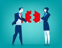 Geschäftsmann- und Frauenpaare mit Hauslaubsäge Lizenzfreies Stockbild
