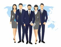 Geschäftsmann- und Frauenschattenbild Teamwirtschaftlergruppengriff-Dokumentenordner auf Weltkartehintergrund vector Illustration Lizenzfreie Stockbilder