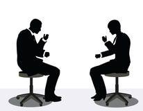 Geschäftsmann- und Frauenschattenbild am Telefon Lizenzfreies Stockfoto