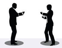 Geschäftsmann- und Frauenschattenbild am Telefon Stockbilder
