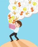 Geschäftsmann- und Geldkasten Stockbild