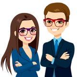 Geschäftsmann und Geschäftsfrau Crossed Arms Lizenzfreies Stockfoto