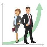 Geschäftsmann und Geschäftsfrau Der bärtige Mann, der mit den Armen steht, kreuzte im forground Eine Mannfrau bei der Arbeit Gewi Lizenzfreies Stockbild