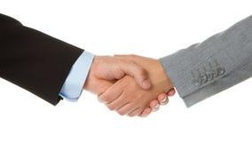 Geschäftsmann und Geschäftsfrau, die Hände rütteln lizenzfreie stockfotos