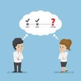 Geschäftsmann und Geschäftsfrau Thinking About Future Stockbilder