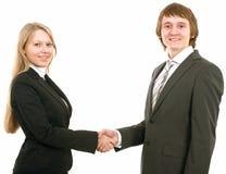Geschäftsmann und Geschäftsfrauhändedruck lizenzfreies stockbild