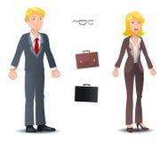 Geschäftsmann- und Geschäftsfrauhaltung auf weißem Hintergrund Stockbilder