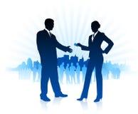Geschäftsmann- und Geschäftsfrauinternet-Hintergrund mit New York Lizenzfreies Stockbild