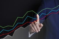 Geschäftsmann und Grafiken stock abbildung