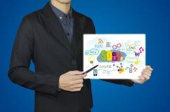 Geschäftsmann und Social Media-Konzept Lizenzfreies Stockbild