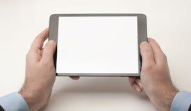 Geschäftsmann-und Tablet-Gerät stockfotos