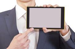 Geschäftsmann und Tablette Stockfotografie