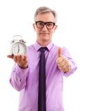Geschäftsmann und Uhr Stockfotos